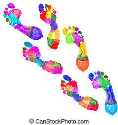 足跡, multi 有色人種