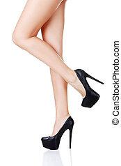 足, かかと, 高く, 靴, 女性