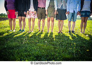 足, グループ, 人々