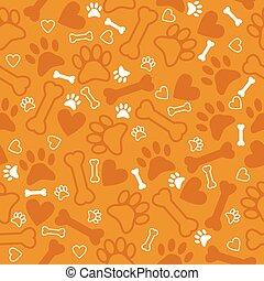 足, パターン, 犬, seamless, hearts., bac, オレンジ, 印刷, 骨