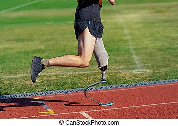 足, 人工装具である, participates, 人, 切断手術を受けた人, race., 運動選手