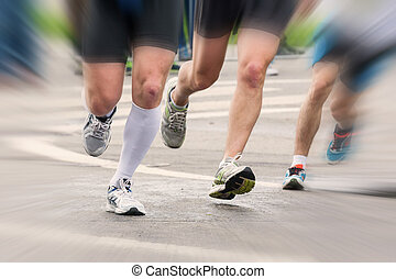 足, 細部, ランナー, 始めなさい, マラソン, レース