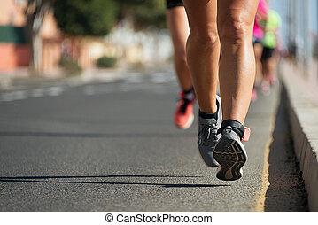 足, 道, 細部, ランナー, 都市, マラソン, 動くこと
