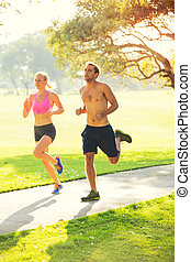 跑, 一起, 夫妇, 公园
