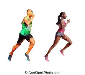 跑, 人和婦女, polygonal, 摘要, polygonal, silhouettes., 跑, 人們