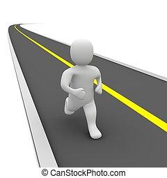 跑, 人, 以及, 空, road., 3d, 提供, illustration.