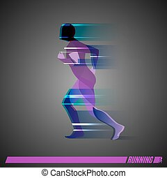 跑, 人, 矢量, 鮮艷, 圖象