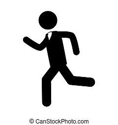 跑, 人, 速度, 圖象, 矢量, 圖表