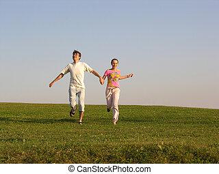 跑, 夫婦, 上, 草