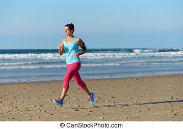 跑, 為, 健身, 上, 海灘