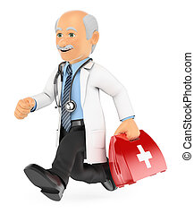 跑, 3d, 緊急事件, 醫生