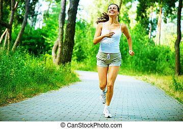 跑, woman., 戶外, 測驗, 在, a, 公園