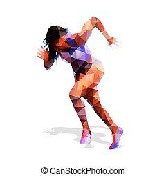 跑, woman., 活躍, girl., 摘要, 矢量, illustration., 現代, 幾何學的設計