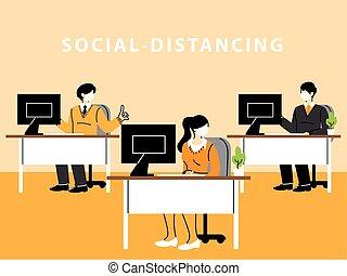 距離, マスク, 維持しなさい, 労働者のオフィス, ウエア, 妨げなさい, 社会, 人々ビジネス, 広がり, ウイルス