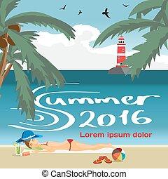 距離。, 夏, 灯台, 概念, 背景, 平ら, sand., スペース, text., 休暇, 浜, 女, ベクトル, イラスト, 海, 日光浴をする, 浜, 漫画, 風景