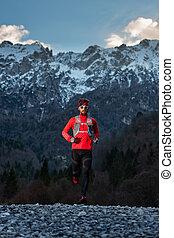 距離, 寒い, 試し, 運動選手, 動くこと, 長い間, の間, 山