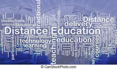 距離, 教育, 背景, 概念