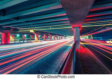 跡, ライト, 交通, 分岐点, 夜