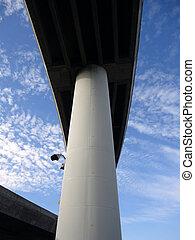 跨線橋, 空, 柱, 大きい, タワー, ハイウェー