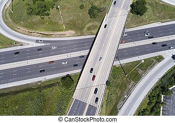 跨線橋, 航空写真, ハイウェー