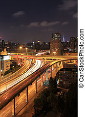 跨線橋, 都市, ハイウェー, 夜
