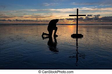 跪, 祈禱, 人, 海灘