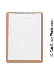 路徑, 剪, 剪貼板, 木制, 被隔离, 背景, included., 白色