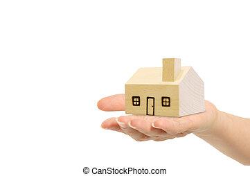 路徑, 剪, 房子, 被隔离, 手, 背景。, included, 白色