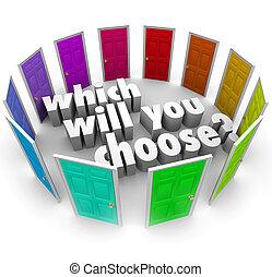 路徑, 很多, 機會, 意志, 選擇, 門, 你