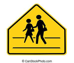 路標, -, 學校橫穿