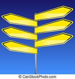 路標, 黃色, 空白, 由于, 藍色的背景