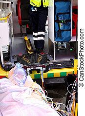路線,  aed,  cardiopulmonary, 設備, 外部, 自動化, 使用, 去纖顫器, 首先, 復活, 幫助