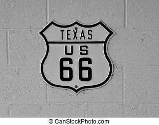 路线66, 签署, 在中, texas.