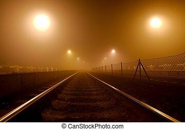 路軌, 在, the, 霧
