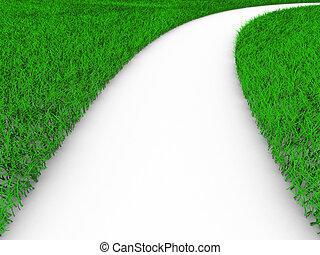 路, 上, grass., 被隔离, 3d, 圖像