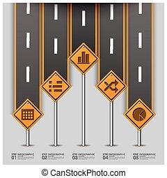 路, 以及, 街道, 交通標志, 事務, infographic