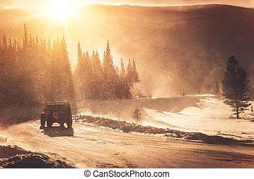 路, 冬天, 條件, 極端