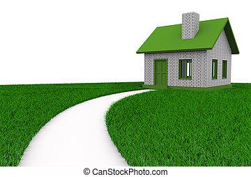 路, 到, 房子, 上, grass., 被隔离, 3d, 圖像