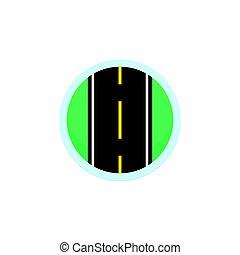 路, 圖象, 矢量, 簽署, 輪, 符號, 由于, 高速公路
