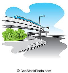 路, 在下面, 天橋, 天空, 訓練, 橋梁