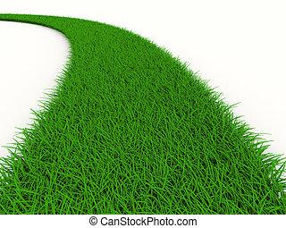 路, 從, 草, 上, white., 被隔离, 3d, 圖像