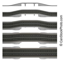 路, 橋梁, 被隔离, 在懷特上, 3d, rendering