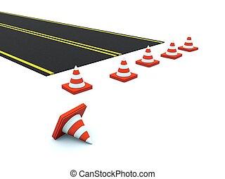 路, 由于, 交通圓錐, 被隔离, 在懷特上