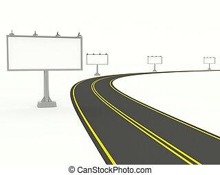 路, 由于, 空, 廣告欄, 被隔离, 在懷特上