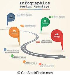 路, infographic, 活動時間表, 元素, layout., 矢量