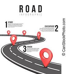 路, infographic, 矢量, 樣板