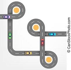 路, infographic, 背景, 由于, 汽車