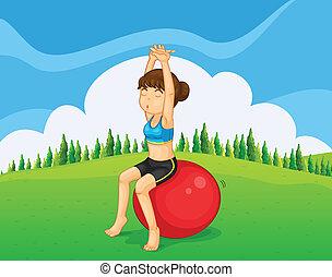 跳ねる, ティーネージャー, ボール, 運動, 丘の上