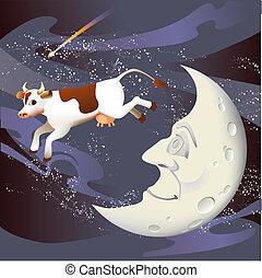跳ばれる, 上に, 牛, 月