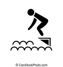 跳在里, 水, -, 游泳池, 圖象, 矢量, 插圖, 黑色, 簽署, 上, 被隔离, 背景